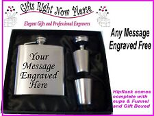 Personalised Gift Boxed 6oz Hip Flask Set Engraved Christmas Birthday Dad Daddy