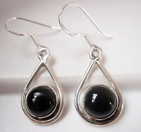 Black Onyx Globe in Hoop 925 Sterling Silver Dangle Earrings Corona Sun Jewelry