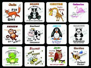 PERSONALISED FUNNY ANIMAL IDIOMS COASTERS BIRTHDAY XMAS GIFT 24 IDEAS TO CHOOSE
