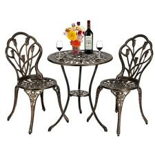 3PC Outdoor Indoor Cast Aluminum Patio Furniture Bistro Table and Chairs Set New
