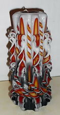 Large Flame candle Unique handmade gift candle Hand Carved candles 8 inch/ 20cm