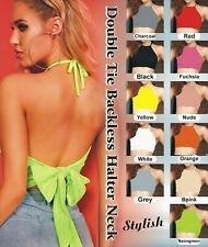 Womens Double Tie back Halter Neck Crop Top T Shirt cropped Backless dress Girls