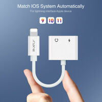 2in1 Lightning Adapter Splitter Audio Earphone AUX Charger For iPhone 11 7 8 X