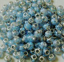 One blue swirl glass charm bracelet bead European murano pugster silver lampwork