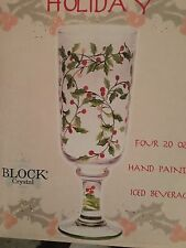 5 NEW Block Holiday Crystal Holiday Poinsettia Iced Beverage Glasses