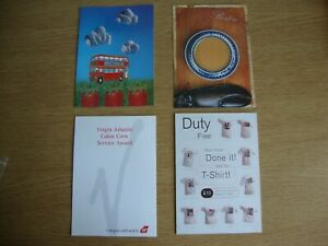 Virgin Atlantic - 2 x Unused Postcards + In Flight Menu +Crew Service Award Card