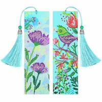 2 Pieces 5D Diamond Painting Bookmark DIY Beaded Bookmarks Animal and Flower