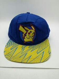 Pokemon Pikachu Youth Baseball Cap Boys Snapback Hat Blue Yellow Lightning Bolts