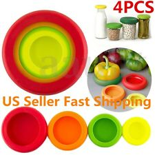 4Pcs Set Flexible Silicone Fruit Vegetable Food Huggers Storage Cover Storage US