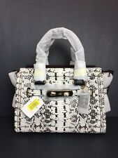 NWT COACH Swagger 27 in colorblock exotic embossed leather 36499 $650 Black