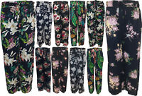New Ladies Lagenlook Cotton Hareem Baggy Floral Print Trousers Plus Size 14-20