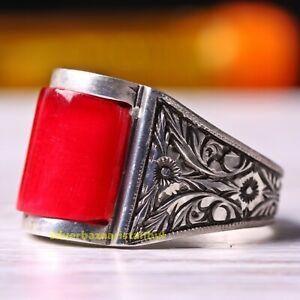 Turkish Handmade 925 Sterling Silver Yellow Amber FLASHY Stone Men Ring Usa