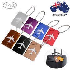 7 X Aluminium Airplane pattern Travel Luggage Tag Baggage ID Label Key Ring