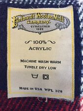 "Fairbault Woolen Mill Co Throw Blanket Red Blue White Plaid 39"" x 52"" USA Made"