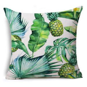 CUSHION COVER COTTON LINEN Palm Leaf Printed Pillow Case Throw Tree Green Plant