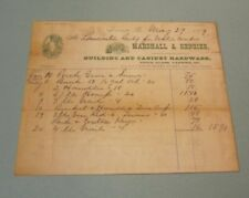1879 Marshall & Rengier Cabinet Hardware Glass Tools Green Billhead Lancaster PA