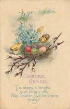 Easter~Chicks Look at Red Purple Green Eggs in Nest~Pussy Willows~Series 1419 C