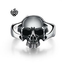 Silver skull bangle stainless steel wide cuff bracelet solid heavy