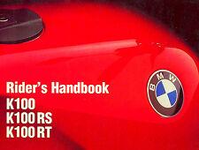 1985 BMW K100 K100RS K100RT MOTORCYCLE OWNERS RIDERS MANUAL -K100 K100RS K100RT