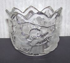 Glass Candle Holder / Small Bowl Little Girl Christmas Pine Tree Village