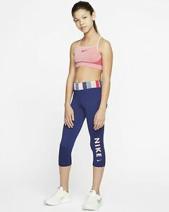 Nike One Girls Tight Capri  CJ7671 492  Dri Fit Size Girls Large
