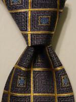 ERMENEGILDO ZEGNA Men's Silk Necktie ITALY Luxury Geometric Blue/Yellow PERFECT