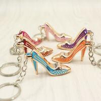 High Heel Shoes Keychain Rhinestone Car Key Rings Women Bag Key Chains Keyrings