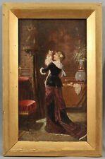 19thC Antique Signed Genre Portrait Oil Painting Victorian Woman, Cat & Birdcage