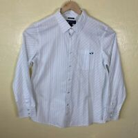 Oakley Button Up Shirt Mens Large Regular Fit White Blue Striped Long Sleeve