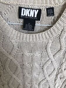 DKNY Women's Cotton Cable Knit Sweater Top Petite