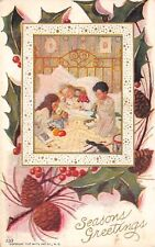 Victorian Christmas Children~Four Poster Brass Bed~Quilt~Toys~1907 Nat'l Art Co
