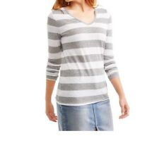 3f773a2b Faded Glory Womens Gray Heather Stripe Long Sleeve V-neck T-shirt Size XL
