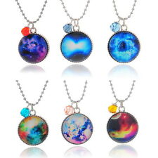 1PC Galaxy Pendant Crystal Space Universe Moon Necklace Stylish Unisex