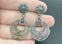 Vintage Sterling Silver 925 Dangle Hoops Floral Studded Filigree Clip Earrings