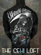 MENS GRAPHIC T-SHIRT Black Death Rider Reaper with Silver Foil SLIM FIT