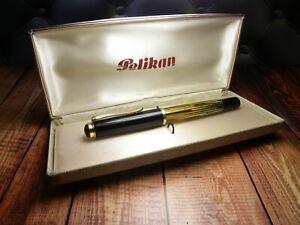 "Vintage ""Pelikan 400"" Fountain Pen-Tortoiseshell/Brown-14K OM Nib-Germany 1950s"