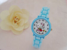 Kids Girls Hello Kitty Sky Blue Wrist Watch Analog Silicone Strap Water Proof S