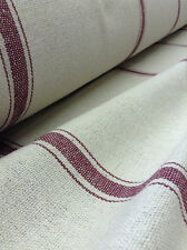 SALE Grain Sack Fabric - Cream Fabric w/3 Burgundy Stripes