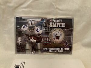 Emmitt Smith Pro Football Hall of Fame Induction Silver Plated Coin Card 2010
