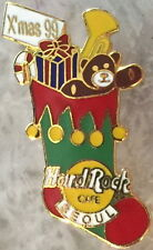 Hard Rock Cafe SEOUL 1999 CHRISTMAS PIN Stocking BEAR Candy Cane Trumpet #8604