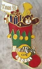 Hard Rock Cafe SEOUL 1999 CHRISTMAS PIN Stocking BEAR Candy Cane Trumpet #8604