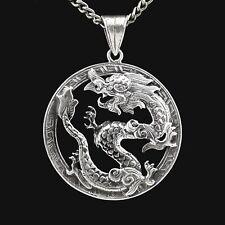 Dragon Pendentif Amulette Argent Véritable Bijou Coupé à la Main Origine Asie