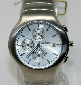 Jacques Lemans Mens Chronograph Alarm Stainless Steel Watch Swiss Quartz 1-1307B