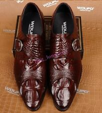 Mens Crocodile Skin Dress Business Buckle Formal Business Shoes Pointy Toe Hot