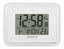 White Delta Radio Controlled LCD Alarm Clock Handy Portable Travel Wall Mounted