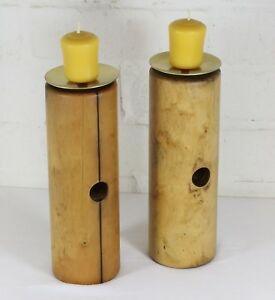 Candlesticks - A Pair made of English Antique F.H.Ayres Ash Croquet Mallet Heads