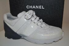 CHANEL $1000 17S Silver Terry Cloth CC Lace Up Sport Runner Trainer Sneaker 11.5