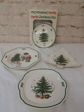 4 pcs Spode & Nikko Christmastime Tree Plates Serving Dishes Canopies 1992 1998