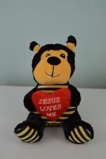 Goffa Jesus Love Me Bee Bear Plush Stuffed Animal Toy Red Heart Black Yellow