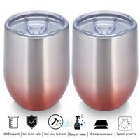 Double Insulated Stemless Glass Stainless Steel Tumbler Cup 12 Oz For Cocktails